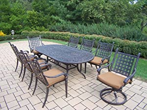 Oakland Living Belmont 9-Piece Oval Dining Table Set with Sunbrella Cushions, 84 by 42-Inch