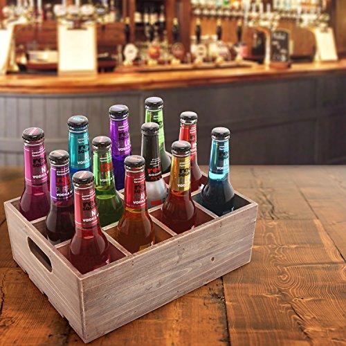 Vintage Finish Rustic Brown Wood 12 Slot Beer Bottle
