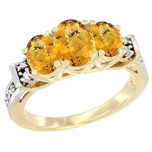 14ct Yellow Gold Natural Whisky Quartz Ring 3-Stone Oval Diamond Accent, sizes J - T