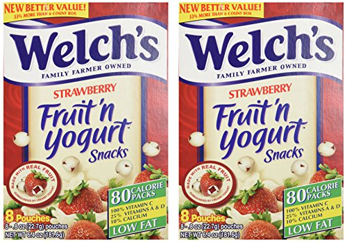 Welch's Strawberry Fruit'n Yogurt Snacks 8 Pouches (2 Pack - 16 Pouches Total) (Fruit And Yogurt Snacks compare prices)