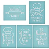 YeulionCraft Self-Adhesive Silk Screen Printing Stencil Kitchen Theme Mesh Transfers for DIY Pillow Fabric Painting Decoration Chalkboards Wood Ceramic (5PCS) (Color: 5pcs)