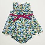 Little Bitty Floral Print Sundress w/ Diaper Cover , BLUE FLORAL, 6 Months