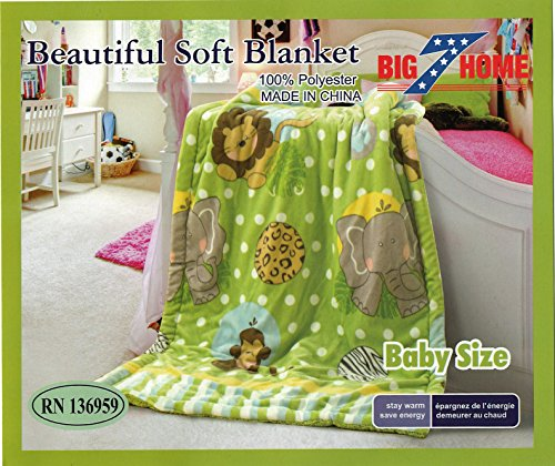 "New Baby Size Super Soft Blanket Hight Quality 100% Polyester Animal Cartoon Bed Plush Throws the Zoo 39"" X 51"" - 1"