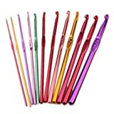 12 Pcs Multicolor Aluminum Crochet Hooks 2mm-8mm Smooth Eye Blunt Knitting Needles Set Weaving Craft Tool by SamGreatWorld (Color: 12pcs Multi)