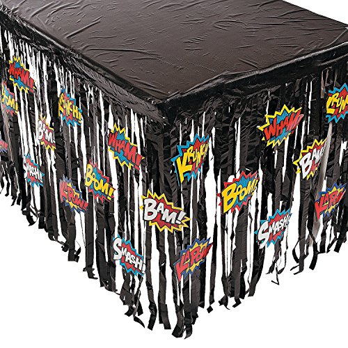 "Superhero Super Hero Table Skirt Party Decoration - 29""H x 108""W"