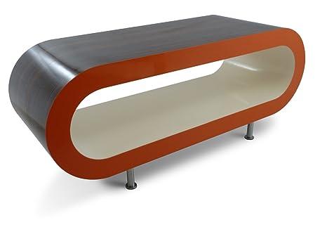 Gran Stripey Retro Alto Brillo Nogal Con Alto Brillo Lados de Naranja y Crema de Alto Brillo Interior 110cm Aro Mesa de Café / Base de TV Con Las Piernas