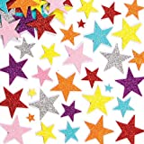 Glitter Star Foam Stickers Selt Adhesive Shapes 7 Colours, Kid's Craft Embellishments for Decorating, Scrapbooking & Card Making(Pack of 150)