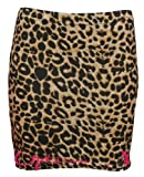 WOMEN LADIES LEOPARD TARTAN SKULL BODYCON STRETCH SHORT MINI PENCIL SKIRT 8-22