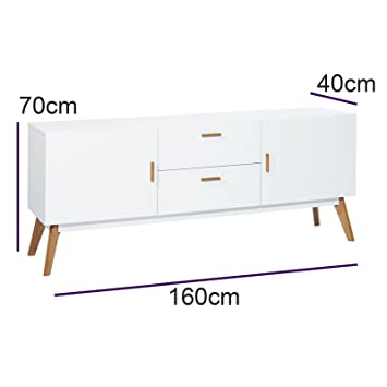 Mmilo Scandinavian Retro MEET TV Table Bench TV stand side table with 2 cabinet and 2 drawer storage, contemporary design furnitrue, solid oak in Matt finish in White [Energy Class A+++]