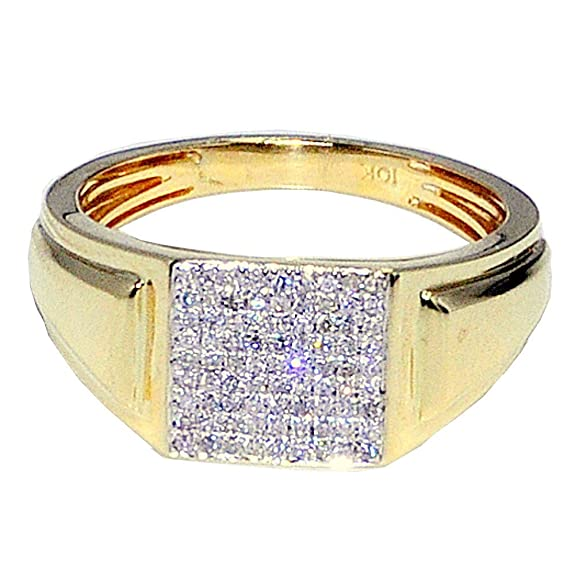 Midwest Jewellery Men's Diamond Ring 10K Gold 1/4Cttw Fashion Pinky Ring 10Mm Wide(I/J Color 0.26Cttw)