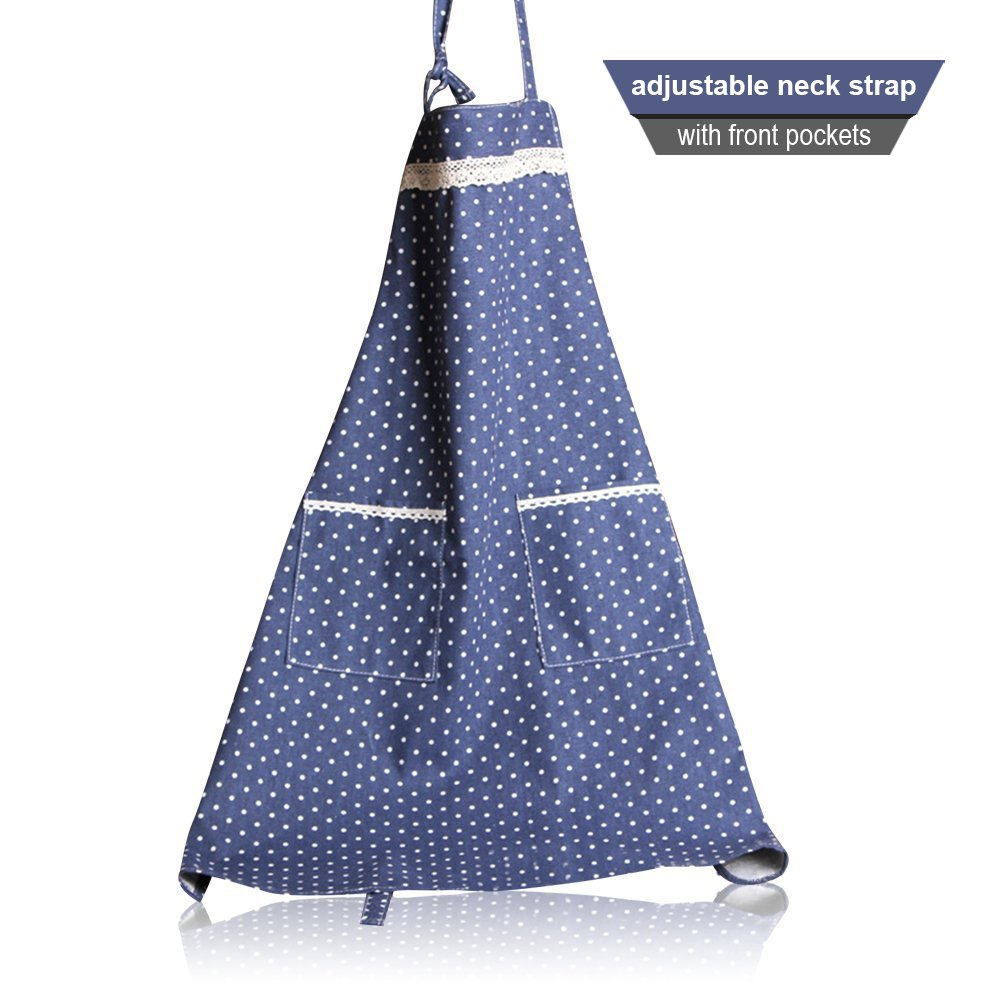Cute Women Kitchen Chef Bib Blue Polka Lace Vintage Aprons Grilling Flirty Girl Cooking Apron, 100% Cotton Professional Housewife Apron with Practice Pockets (Blue) 0
