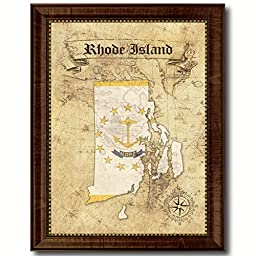 Rhode Island State Vintage Map Flag Art Custom Picture Frame Office Wall Home Decor Cottage Shabby Chic Gift Ideas, 18\