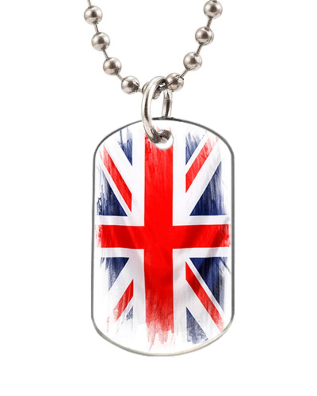 Union Jack Personalized Custom Fashion Dog Tag, Large Size (Dogtag Necklace with 30