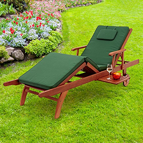 Trueshopping 'Amalfi' Balau Hardwood Recliner Patio Sun Lounger Chair on Wheels - Fully Adjustable Sunlounger with Pull Out Drinks Tray - Premium Quality Garden Furniture - Natural Sanded Finish
