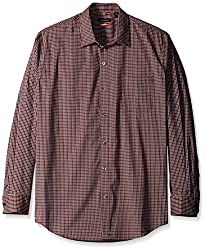 Van Heusen Men's Long Sleeve Traveler Stretch Non Iron Shirt, Burgundy Vino, Small
