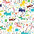 Jillson Roberts 1/4 Ream Recycled Gift Wrap, Birthday Barkday, 208-Feet x 30-Inch (B160.25)