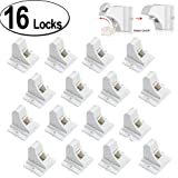 Child Safety Magnetic Cabinet Locks - 16 Pack Children Proof Cupboard Baby Locks Latches - Adhesive for Cabinets & Drawers and Screws Fixed for Durable Protection (Tamaño: 16 Locks, 2 Keys)