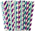 Light Blue Teal Blue and Purple Polka Dot Chevron and Striped Paper Straws Under the Sea Theme or Birthday Party Supply- 100%Biodegradable 7.75 Inches Pack of 100