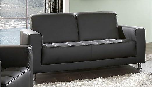 CATANIA 2er Sofa Couch 2-Sitzer Kunstleder Schwarz