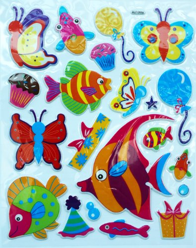 Jazzstick Fish & Butterfly Adhesive Foam Kids Room/Nursery Decorative Wall Sticker A4 size Decal (VST41A02)