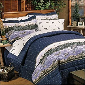 Trout print bedding fish decor twin bed for Fish bedding twin