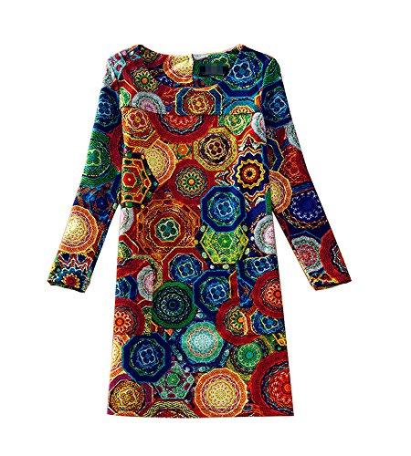 J.cotton Autumn /Winter Floral Print Long Sleeve Boat Neck A-line Midi Casual Dress (XL, J-D-5) (Renaissance Dress Plus Size)