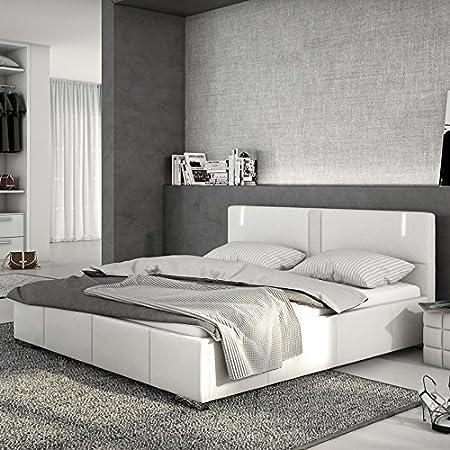 Innocent tapizada cama de piel sintética color blanco 180x 200cm con LED y Altavoz Accura con somier