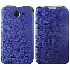 Heartly Premium Luxury PU Leather Flip Stand Back Case Cover For Huawei Ascend G730 - Blue