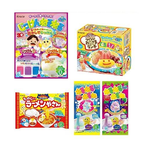 Kracie DIY Gummy Candy Making Poppin Cookin 5 pcs Bundle SET Okosama Lunch, Jikken, Ramen, Nerunerunerune(soda/grape) (Nerunerunerune Grape compare prices)