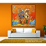 Tamatina Canvas Painting - Radha Krishna - Under The Orange Sky - Kerala Mural Art