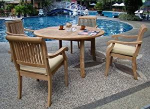 """5 Pc Luxurious Grade-A Teak Dining Set - 48"""" Round Table and 4 Stacking Arbor Arm Chairs from WholesaleTeak"""