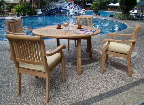5 Piece Luxurious Grade A Teak Dining Set 48 Inch Round