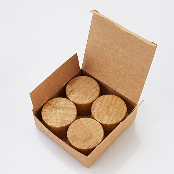 cb9fb8454802 LONGWAY Natural Bamboo Jars with Plastic Lids and Inner Liners ...