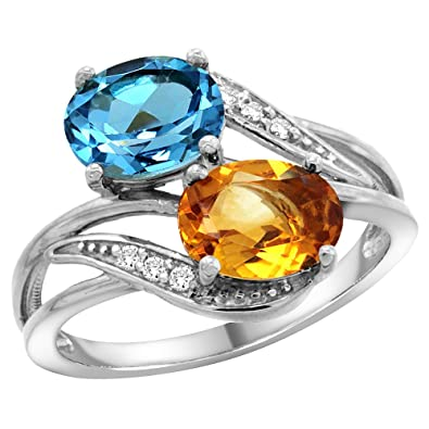 9ct White Gold Diamond Natural Swiss Blue Topaz & Citrine 2-stone Ring Oval 8x6mm, sizes J - T