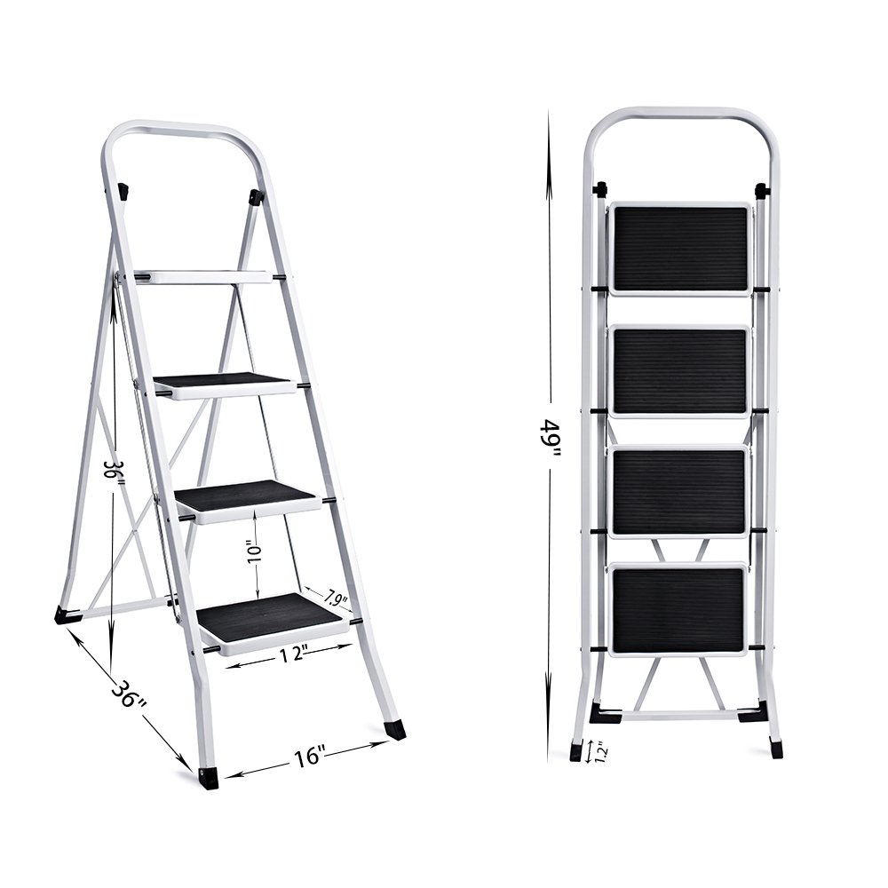 Delxo Folding 4 Step Ladder With Plastic Cushion Handgrip Anti-Slip Sturdy and Wide Pedal 330lbs Portable Steel Step Stool White and Black (WK2040-3)