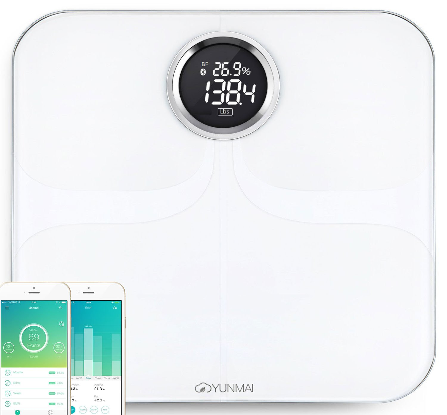 Yunmai HQ White, Bluetooth Smart body fat scale, 8 statistics, 16 user recognition & bluetooth 4.0 automatic connection with FREE APP(iPhone&Android) connected to HEALTH