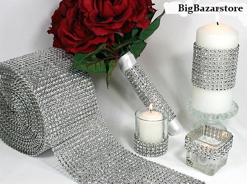 4.75″x10 Yards Silver DIAMOND MESH WRAP RHINESTONE Ribbon
