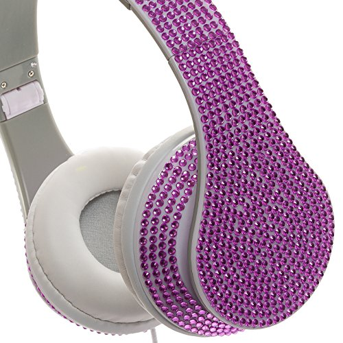 Crystal Case Foldable Dj Stereo Headphones W/ Handsfree Mic (Purple)