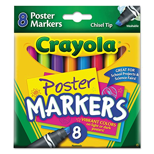 Crayola 588173 Washable Poster Markers, Assorted, 8/Pk