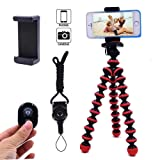 Phone Tripod, Daisen Flexible and Portable Octopus Camera Stand Holder with Bluetooth Remote & Phone Clip for iPhone, Android Phone and Camera/Sports Gopro(Red)