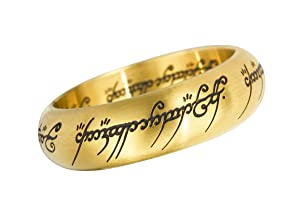 Official Stainless Steel Gold Finish Lord of the Rings Ring