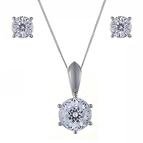 Ivy Gems 9ct White Gold 3ct Finest 100 Cut Cubic Zirconia Solitaire Earrings and Pendant Set with Chain