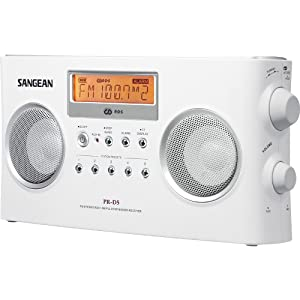 Sangean PR-D5 Portable Radio with Digital Tuning and RDS (White) (Color: White, Tamaño: One Size)