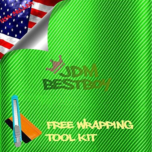 Free Tool Kit EZAUTOWRAP 4D Green Carbon Fiber Car Vinyl Wrap Sticker Decal Film Sheet with Air Release Techology - 24