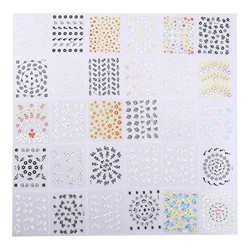 Maquita®60 feuilles de fleur 3D Design Pattern Nail Art Stickers Astuce Decal manucure pour les femmes