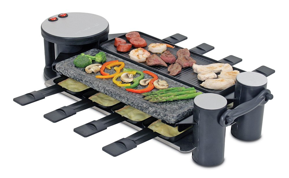 swissmar kf 77073 swivel 8 person raclette party grill black new ebay. Black Bedroom Furniture Sets. Home Design Ideas