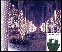 2' x 8' Pure White LED Net Style Tree Trunk Wrap Christmas Lights - Green Wire