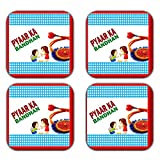 MeSleep Rakhi Wooden Coaster-Set Of 4 - B013LEKEQQ