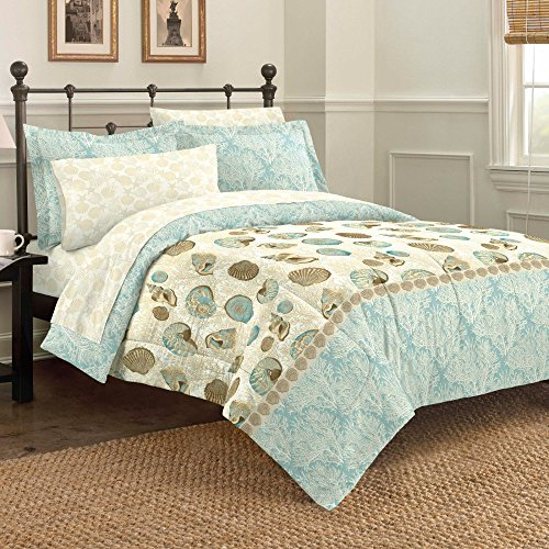 Discoveries Casual Sea Breeze Comforter Set, Queen, Blue (Beach Quilts Queen Size compare prices)