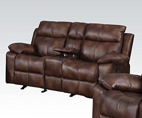 Light Brown Polished Microfiber Loveseat by Acme Furniture
